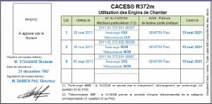 Modèle CACES Verso