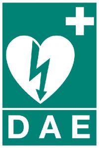 Sigle indiquant la présence d'un défibrillateur automatisé externe (DAE)